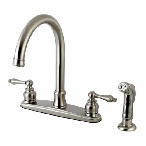 FB7798ALSP Victorian 8-Inch Centerset Kitchen Faucet with Sprayer, Brushed Nickel Perspective: front