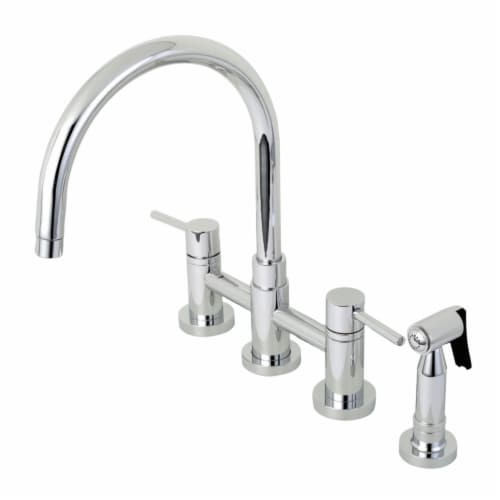 KS8271DLBS Concord Two-Handle Bridge Kitchen Faucet with Brass Side Sprayer, Polished Chrome Perspective: front
