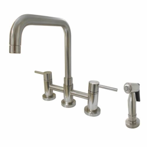 KS8288DLBS Concord Two-Handle Bridge Kitchen Faucet with Brass Side Sprayer, Brushed Nickel Perspective: front