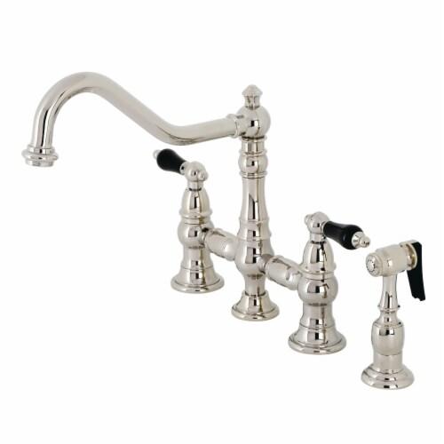 Kingston Brass KS3276PKLBS Duchess Bridge Kitchen Faucet with Brass Sprayer, Polished Nickel Perspective: front