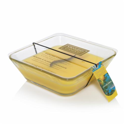 Yankee Candle Sicilian Lemon Ribbonwick Jar Candle – Yellow Perspective: front