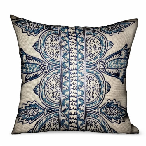 """Floret White/ Blue Paisley Luxury Outdoor/Indoor Throw Pillow Double sided  18"""" x 18 Perspective: front"""