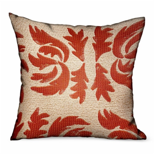 """Claret Leaflet Orange Paisley Luxury Outdoor/Indoor Throw Pillow Double sided  12"""" x 20 Perspective: front"""