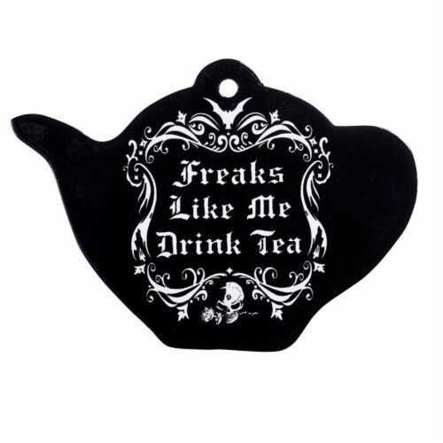 Alchemy Gothic CT9 Ceramic Freaks Like Me Drink Tea Trivet Perspective: front