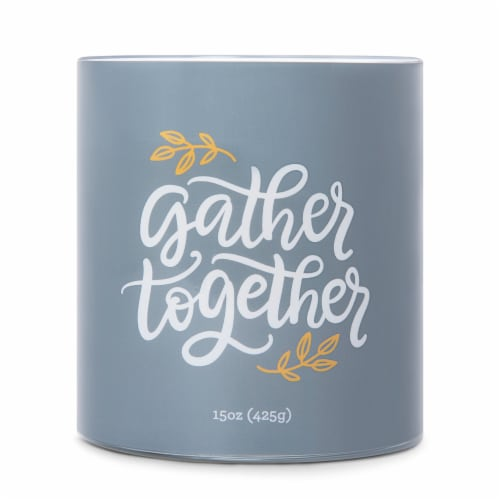 Carolina Harvest Sayings Gather Together Candle - Blue Perspective: front
