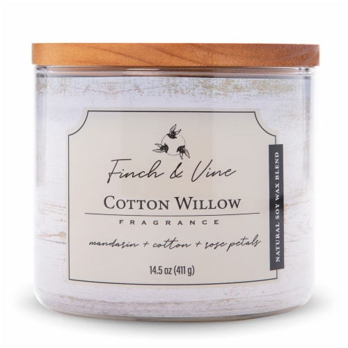 Finch & Vine Cotton Willow Soy Wax Blend Candle Perspective: front