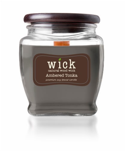 Wick Ambered Tonka Candle Perspective: front