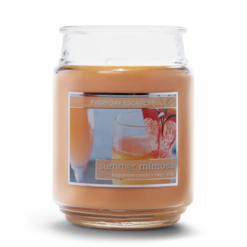 Everyday Escapes Summer Mimosa Fragranced Candle - Coral Perspective: front