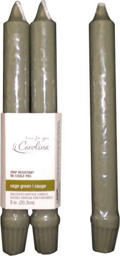 Carolina® Candle Company Heritage Tapered Candles - 2 pk - Sage Green Perspective: front