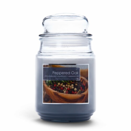 Everyday Escapes Peppered Oak Tri-Layer Jar Candle - Gray Perspective: front