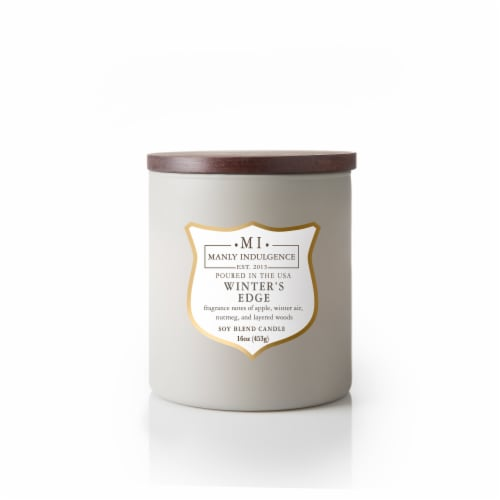 Manly Indulgence Winter's Edge Soy Blend Candle – White Perspective: front