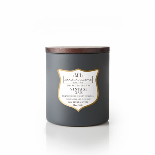 Manly Indulgence Vintage Oak Scent Soy Blend Candle - Dark Gray Perspective: front