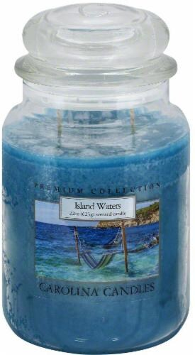 Carolina Candle Premium Collection Island Waters Jar Candle - Blue - 22 Ounce Perspective: front