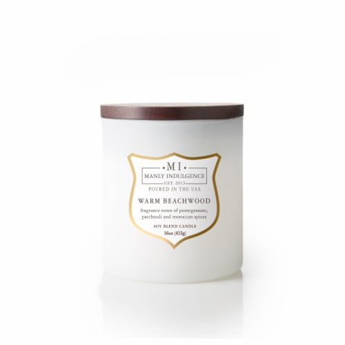 Manly Indulgence Warm Beachwood Soy Blend Candle – White Perspective: front