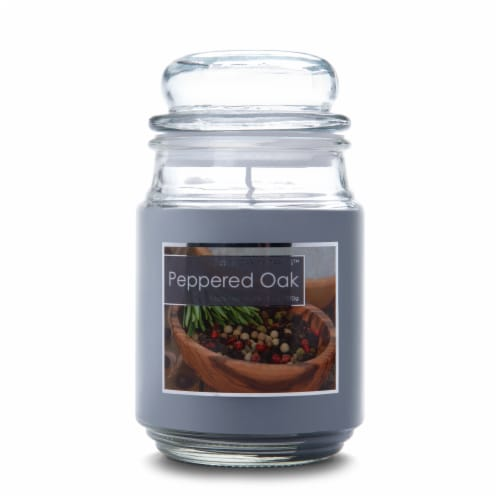 Everyday Escapes Peppered Oak Fragranced Candle - Gray Perspective: front