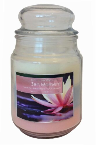 Everyday Escapes Zen Moment Tri-Layer Jar Candle - 18 Ounce - Pink/Blue/Cream Perspective: front