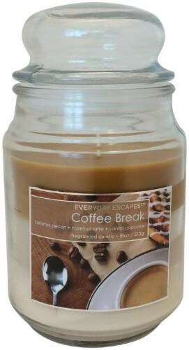 Everyday Escapes Coffee Break Tri-Layer Jar Candle - 18 Ounce - Brown/Cream Perspective: front