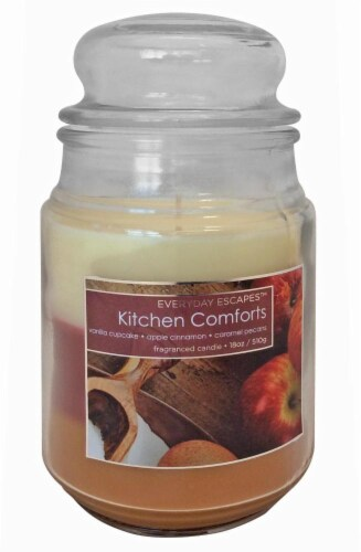 Everyday Escapes Kitchen Comforts Tri-Layer Jar Candle - 18 Ounce - Brown/Red/Cream Perspective: front