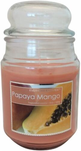 Everyday Escapes Papaya Mango Scented Candle Perspective: front