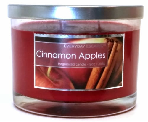 Everyday Escapes Cinnamon Apples Jar Candle - Red Perspective: front