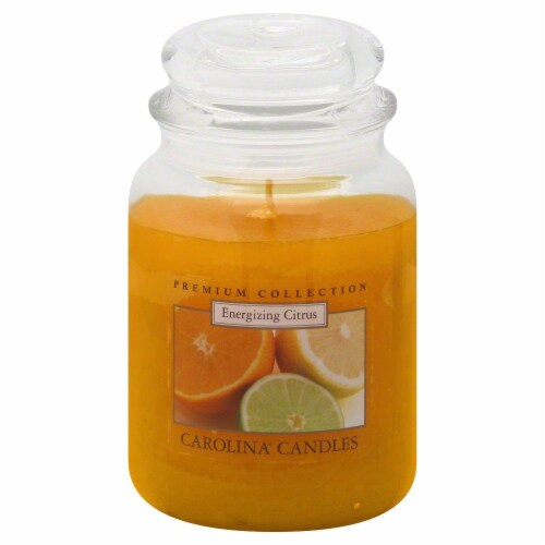 Carolina Candle Energizing Citrus Jar Candle - 22 Ounce - Yellow Perspective: front