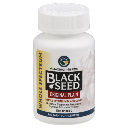 Amazing Herbs Black Seed Original Plain Capsules Perspective: front