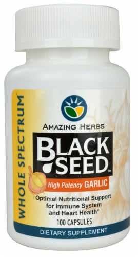 Amazing Herbs  Black Seed™ with High Potency Garlic Capsules Perspective: front