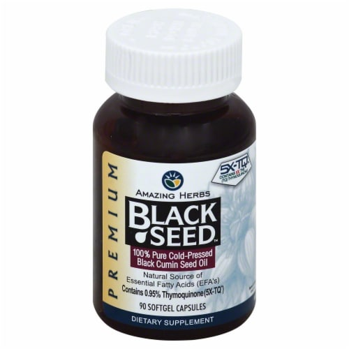 Amazing Herbs Premium Black Seed Oil Softgels 500mg Perspective: front