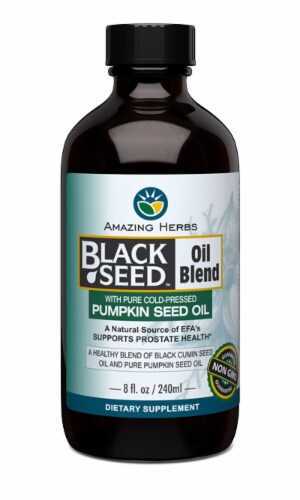 Amazing Herbs Black Seed Oil with Pumpkin Seed Oil Perspective: front