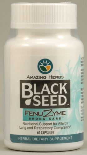Amazing Herbs Black Seed Fenuzyme Bronc Care™ Supplement Capsules Perspective: front
