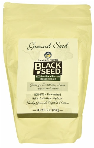 Amazing Herbs Black Seed™ Finely Ground Black Cumin Seed Perspective: front