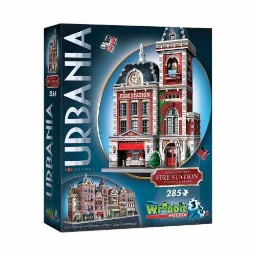 Wrebbit Urbania Collection Fire Station 3D Puzzle Perspective: front