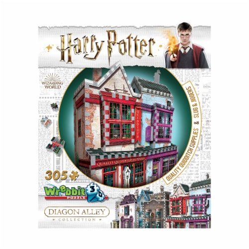 Wrebbit Harry Potter Diagon Alley Collection Quality Quidditch Supplies 3D Puzzle Perspective: front