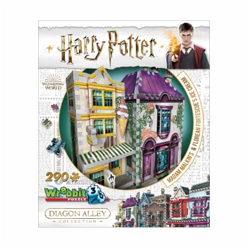 Harry Potter Diagon Alley Collection Madam Malkin's & Florean Fortescue's Ice Cream 3D Puzzle Perspective: front