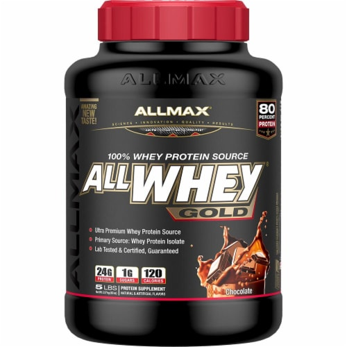 ALLMAX Nutrition  ALLWHEY Gold Premium Isolate-Whey Protein Blend   Chocolate Perspective: front