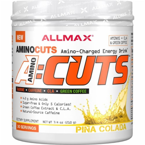 ALLMAX Nutrition  A-Cuts™ Amino-Charged Energy Drink   Pina Colada Perspective: front