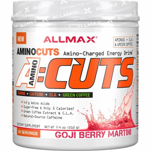 ALLMAX Nutrition  A-Cuts™ Amino-Charged Energy Drink   Goji Berry Martini Perspective: front