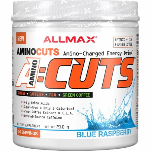 ALLMAX Nutrition  A-Cuts™ Amino-Charged Energy Drink   Blue Raspberry Perspective: front