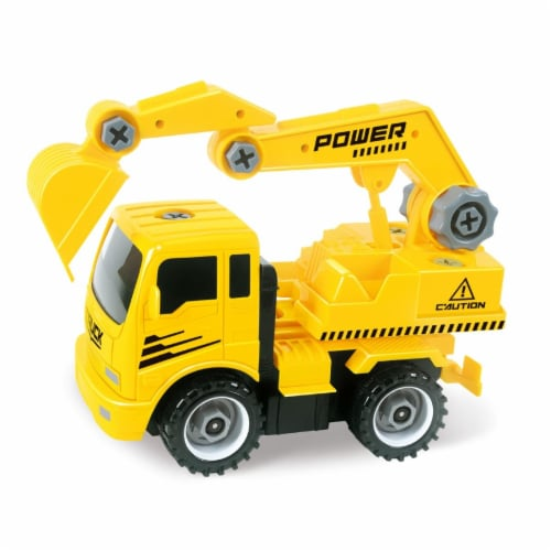 AZImport T29A Take A-Part Construction Truck with 4 Different Forms, Dump Truck, Crane, Cemen Perspective: front