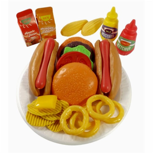 AZImport PS8010 Fast Food Play Set for Kids, Includes Burger, Hot Dog, Potato Chips, Onion Ri Perspective: front