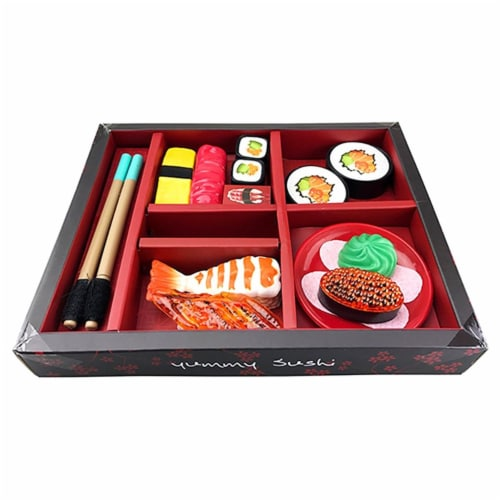 AZImport PSG19 Japanese Sushi Dinner Bento Box Pretend Play Perspective: front