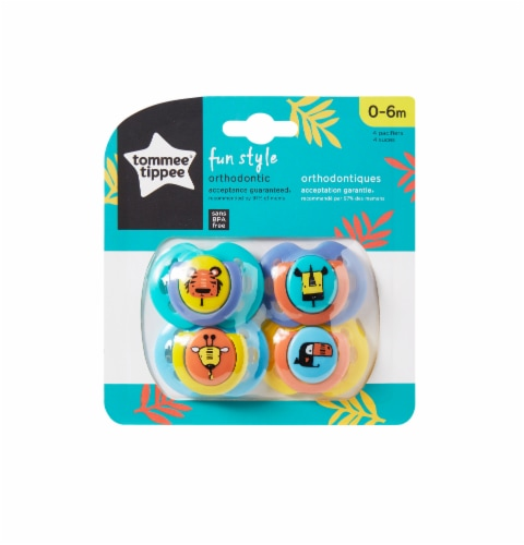 Tommee Tippee Fun Pacifiers 0-6 Months 4 Count Perspective: front