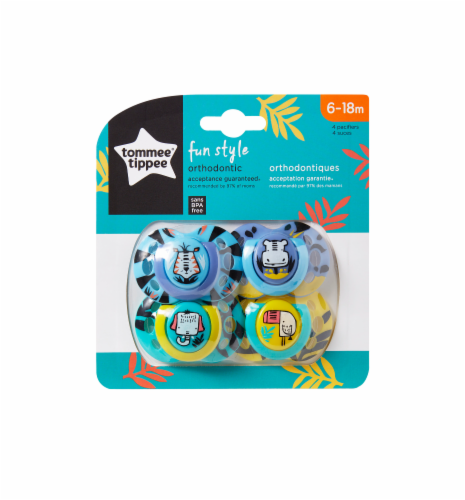 Tommee Tippee Fun Pacifiers 6-18 Months 4 Count Perspective: front