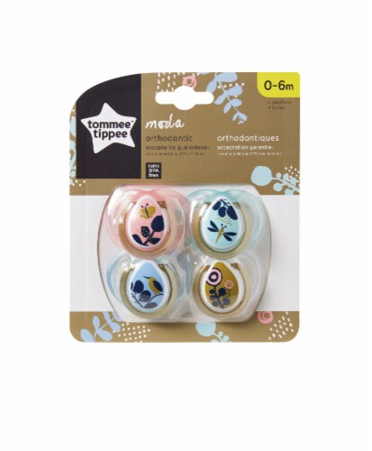 Tommee Tippee Moda Pacifiers 0-6 Months 4 Count Perspective: front