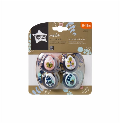 Tommee Tippee Moda Pacifiers 6-18 Months 4 Count Perspective: front