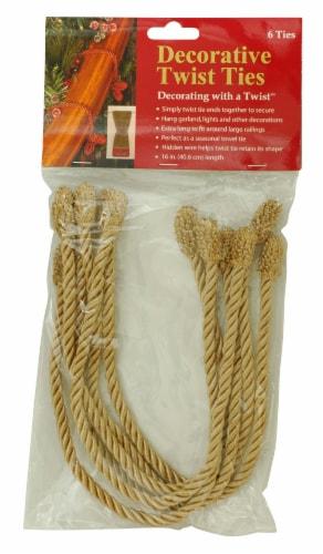Haute Décor Decorative Twist Ties - 6 Pack - Gold Perspective: front