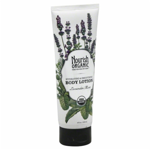 Nourish Organic Lavender Mint Hydrating & Smoothing Body Lotion Perspective: front