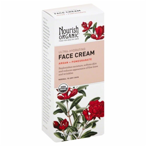 Nourish Organic Ultra-Hydrating Argan and Pomegranate Face Cream Perspective: front