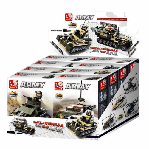 Sluban 587  Army Tank 8-in-1 Building Brick Display Set (917 Pcs) Perspective: front