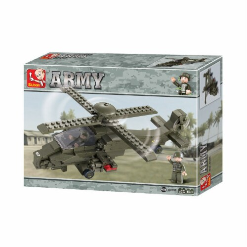 Land Forces Helicopter Building Brick Kit (199 Pcs) Perspective: front